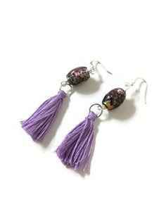 Lavender Tassel Earrings with Speckled Glass by JulemiJewelry