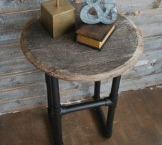 Industric-chic side table made with PVC pipe.  So much more lightweight and far less expensive than metal pipe.