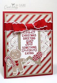 I just had to play with some of my goodies from the 2016 Holiday Catalog and share my Cookie Cutter Christmas Card from the Candy Cane Lane Suite today. One extra fun part of being a Stampin' Up! Demo