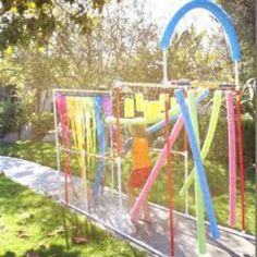 PVC pipes sprinkler for the kids....having my dad make this!