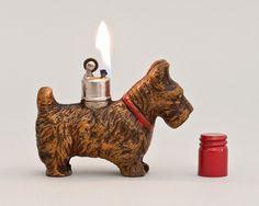 Working Strikalite Scotty Terrier Table by LuminousWhatnots Globe Logo, Cool Lighters, Retro Lighting, Light My Fire, Smoking Accessories, Scottie Dog, Light Table, 1930s, Zippo Lighter