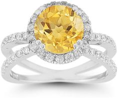 ApplesofGold.com - Criss-Cross Pave Diamond and Citrine Halo Ring Gemstone Jewelry $1,625.00