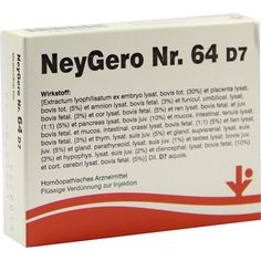 NEYGERO Nr.64 D 7 Ampullen:   Packungsinhalt: 5X2 ml Ampullen PZN: 06487204 Hersteller: vitOrgan Arzneimittel GmbH Preis: 42,86 EUR inkl.…