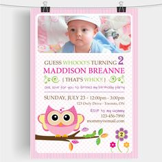 Custom 2nd Birthday Girl Printable Party by bellasboutiquedesign, $13.00