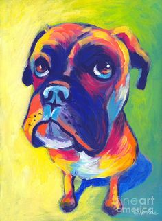 Whimsical Boxer dog Painting - Whimsical Boxer dog Fine Art Print