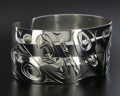 James Sawyer Silver Wolf+Whale Bracelets, Northwest Coast Native Art