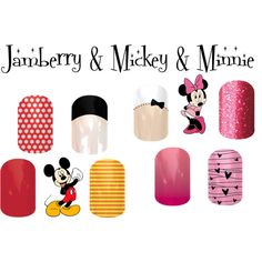 "Disney Inspired, too bad some of these are *retired* ""Jamberry & Mickey & Minnie"" by angiodancer on Polyvore"
