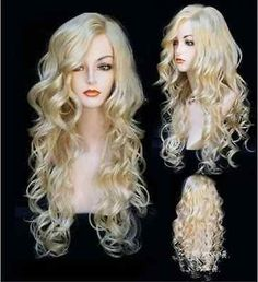 Fashion wig New Charm Women long Blonde Curly Natural Hair Full wigs