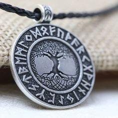 Runes Nordic Vikings Runes Amulet Pendant Necklace Tree of Life Talisman Celtic Runes Nordiques, Nordic Runes, Les Runes, Nordic Vikings, Elder Futhark Runes, Talisman, Viking Runes, Viking Axe, Viking Ship