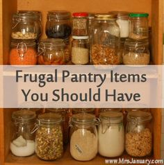 Frugal Pantry Items You Should Have :::: Rice Pasta . Flour Dried Beans Dried Spices Vinegar Oats Canned Tomatoes Broth Sugar Fresh Garlic Fresh Onions Frugal Tips, Frugal Meals, Cheap Meals, Cheap Food, Living On A Budget, Frugal Living, Pantry Moths, Cooking Tips, Cooking Recipes
