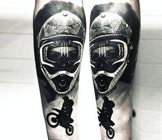 Motocross tattoo by Andrey Kolbasin - Sport Tattoos Images - Motorrad Dirt Bike Tattoo, Motorcycle Tattoos, Full Arm Tattoos, Black Tattoos, Sleeve Tattoos, Motor Tattoo, Best Tattoos For Women, Tattoos For Guys, Cool Tattoos