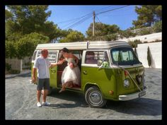 Arriving at location. Elixir, Ibiza. Dad helping bride (daughter) get out of our ride.