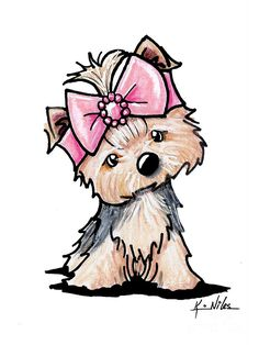 Yorkie In Bow Drawing