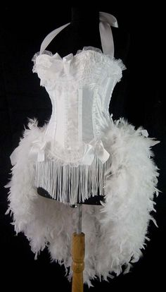 Size S-White Victorian Lace Moulin Burlesque Rouge Costume Feather. $169.99, via Etsy.