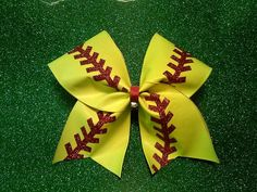 Softball Bow Cheer Bow by CheerBowsnMore on Etsy, $14.00