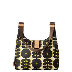 Orla Kiely: Matte laminated midi sling bag in 'Cut-out Wildflower' print with steel colored 'Scribble' printed cotton twill lining for the Poppy colorway and bark coloured 'Scribble' printed cotton twill lining for the Bumblebee colorway. With large slit pocket to front and magnet closure. Inside details include small zip pocket, key chain and mobile pocket. Mushroom colored webbing tape handles reinforced with natural vegetable tan leather. Adjustable webbing tape strap that allows the bag…