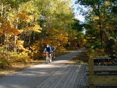 Bike the Hart-Montague Rail Trail- 22.5 mile paved bike path from Hart south to Montague on the west side of Michigan passing through farmland, orchards, rivers, and Manistee National Forest. Bike rentals available in Hart, Mears, or Silver Lake.