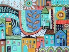Townhouses 12x16 ORIGINAL CANVAS PAINTING abstract PRIM FOLK ART Karla Gerard #FolkArtAbstractPrimitive