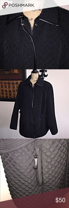 Plus Size Black Quilted Mixed Media Faux Trim Coat Excellent Used Condition. Mixed media. Sized 18/20. Dress Barn Jackets & Coats
