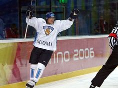 Teemu Selanne celebrates after a goal in the 2006 Olympics against Canada in Torino. Finland won the silver medal that season. Don Emmert, AFP/Getty Images