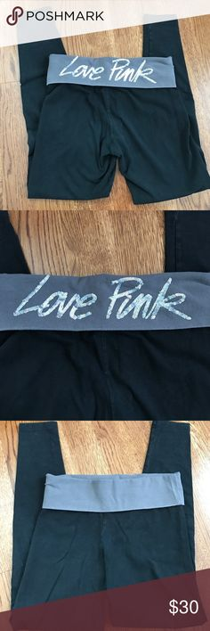 VS Pink Yoga Pants with Sequins Great condition! Silver sequins on back. Size Small. PINK Victoria's Secret Pants Leggings