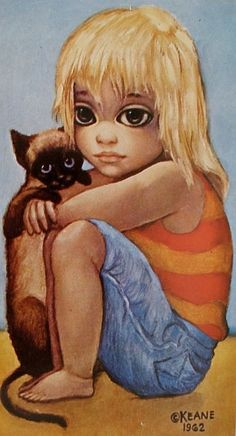 Who is the mother of big-eye art? Margaret Keane, of course! Her poignant paintings, mass produced as prints in the and captured the hearts of the masses and are popular once again. Big Eyes Margaret Keane, Keane Big Eyes, Margareth Keane, Keane Artist, Walter Keane, Illustrations, Illustration Art, Big Eyes Paintings, Eye Art