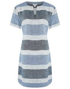 3ac0b847891 Embrace the breathable comfort of linen this season with our Ramona striped  tunic dress. This