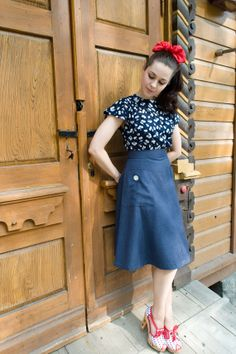 40s style wool skirt with large pockets