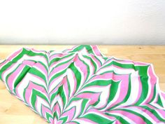 Vintage Green and Pink Scarf / Psychedelic Scarf by VintageEdition, $20.00