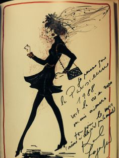 A sketch by Karl Lagerfeld telling the love affair between the Parisian and her little black dress, 1988 : www.assouline.com/9782843232893.html
