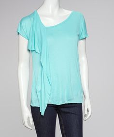 Take a look at this Aqua Asymmetrical Drape Top by Freeloader on #zulily today! $12.99, regular 19.00