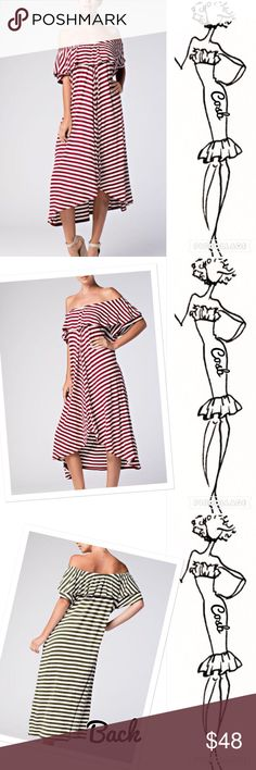 Sneak Peek...Sophisticated Wine & Cream Dress Sophisticated Wine & Cream Stripe Dress. Dress is off the shoulders with ruffle @ the top. Back is slightly longer than front. Beautiful dress. Sizes: Small, Medium, & Large Cosb Dresses
