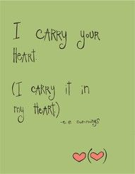 """""""I carry your heart. I carry it in my heart."""" #parenting #love #quote by -E.E. Cummings"""