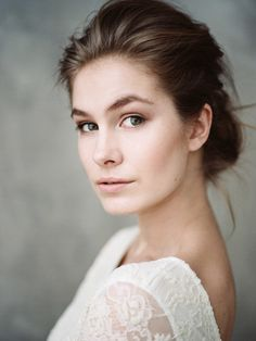 Film portrait of young portrait looking at camera Let's Get Married, Braut Make-up, Maker, Models, Young Women, Bobbi Brown, One Shoulder Wedding Dress, Stock Photos, Beauty