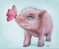 Mini Pig archival paper print. Micro pig giclée by MimoCadeaux