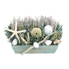 Assorted dried grass and seashell arrangement in wood container.  Product: Floral arrangementConstruction Material: N...