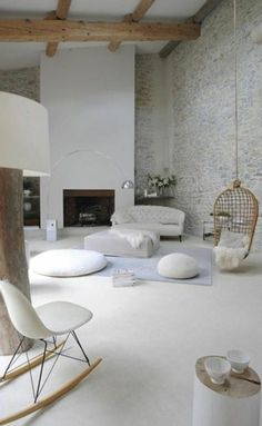 Floor cushion: charm and comfort in the interiors - Trendy Home Decorations Küchen Design, Home Design, Home Interior Design, Interior Architecture, Living Room Designs, Living Spaces, Trendy Home, Floor Cushions, Living Room Interior
