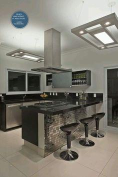 cocina en colores negro y gris