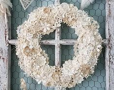 Wreath, Crochet Doily Wreath, Doily Wreath, Holiday Decor, Christmas Wreath, Table Centerpiece, Winter Wedding, Wall Hanging, Shabby Chic