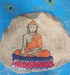Hand painted Buddha stone