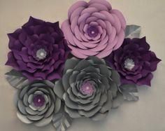 Flores de papel gigantes-Set de 5 por LuxyFlowers en Etsy