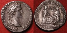Caius & Lucius Caesars standing, shields & spears between, lituus and simpulum Gold And Silver Coins, Seals, Roman, Money, Rings, Seal, Ring, Jewelry Rings, Harbor Seal