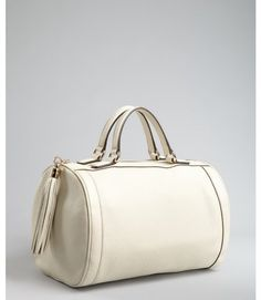 Ivory Leather Soho Tassel Detail Boston Bag
