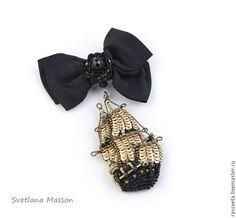 Купить Брошь фрегат,,Виктория,, - золотой, брошь ручной работы, украшения ручной работы