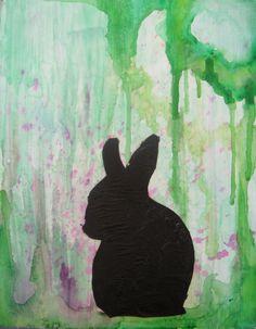 Watercolor bunny silhouette.
