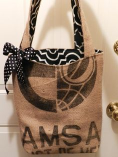 Coffee Bag Tote  Recycled Coffee Bean Bags  Cotton by kbovard, $29.95