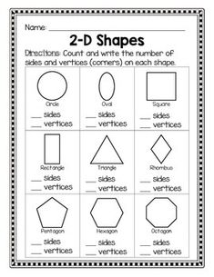 Shapes - Sides and Vertices Shapes Worksheet Kindergarten, Shapes Worksheets, Kindergarten Math Worksheets, School Worksheets, Math Activities, Geometry Activities, Printable Worksheets, Teaching Shapes, Teaching Math