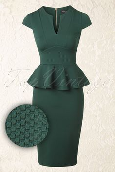 "Go for a super feminine power look with this gorgeous 50s Carese Peplum Dress in Green!All we need is... this dress! The fitted style has a sexy V-neck, short cap sleeves and a flattering peplum waist to hide any tummy flaws and give you a beautiful curvy silhouette at the same time! The skirt emphasizes your curves even more and hits just below the knee with a height of 1.70m / 5'7"". Made from a sturdy woven dark green structure fabric with a light stretch that fits pe..."