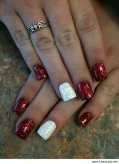 Red and white sparkles