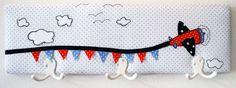 """""""Über den Wolken"""" - Kindergarderobe für, 50 cm breit und 15 cm hoch.  #Garderobe #Kindergarderobe #Geschenk #Kinderzimmerdeko #persönlich"""